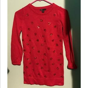 Gap kids girls red sweater with sequin hearts
